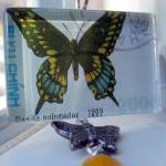 Pendant - Butterfly Gold Blue Black..