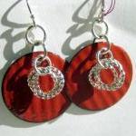 Earrings - Red Enameled Copper Silv..