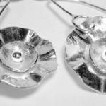 Earrings - Hand Forged Sterling Flo..