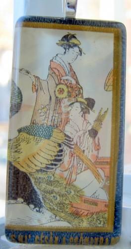 Pendant - Japanese Vintage Stamp Glass Tile Geisha Crane