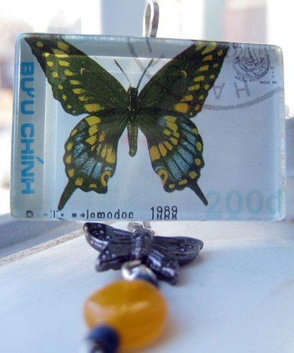 Pendant - Butterfly Gold Blue Black Glass Tile