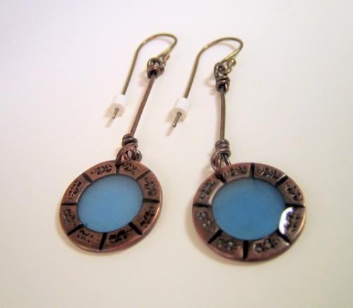 RESERVED Earrings - Cornflower Blue Resin Dark Copper Sterling Silver