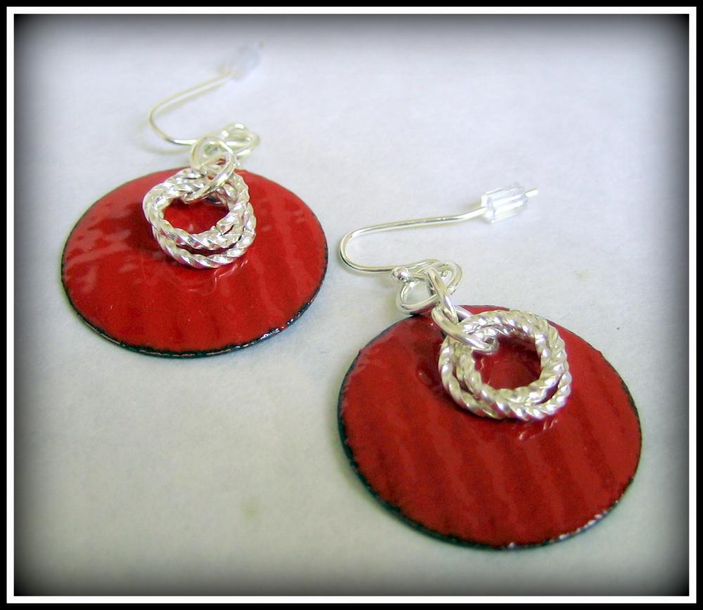 Earrings - Red Enameled Copper Silver Twist Rings