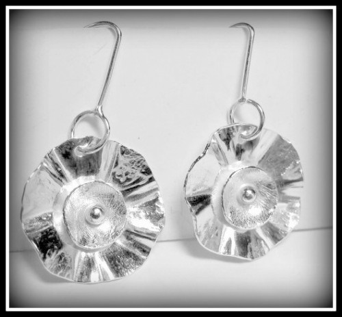 Earrings - Hand Forged Sterling Flowers