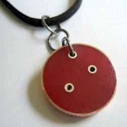 Pendant - Cherry Red Epoxy Resin, Round, Copper, Sterling