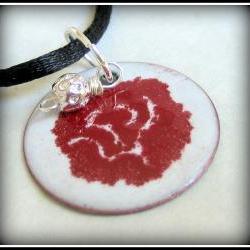 Pendant - Red Flower on White Enameled Copper