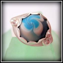 Ring - Sterling Blue and White Artisan Glass Flower